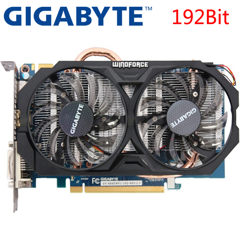 GIGABYTE Graphics Card GTX 660 2GB 192Bit GDDR5 Video Cards for nVIDIA Geforce GTX660 Used VGA Cards stronger than GTX 750 TI(China)