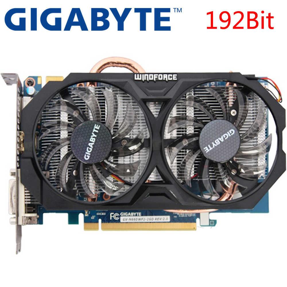Tarjeta gráfica GIGABYTE GTX 660 2GB 192Bit GDDR5 tarjetas de vídeo para nVIDIA Geforce GTX660 tarjetas VGA usadas más fuertes que GTX 750 TI