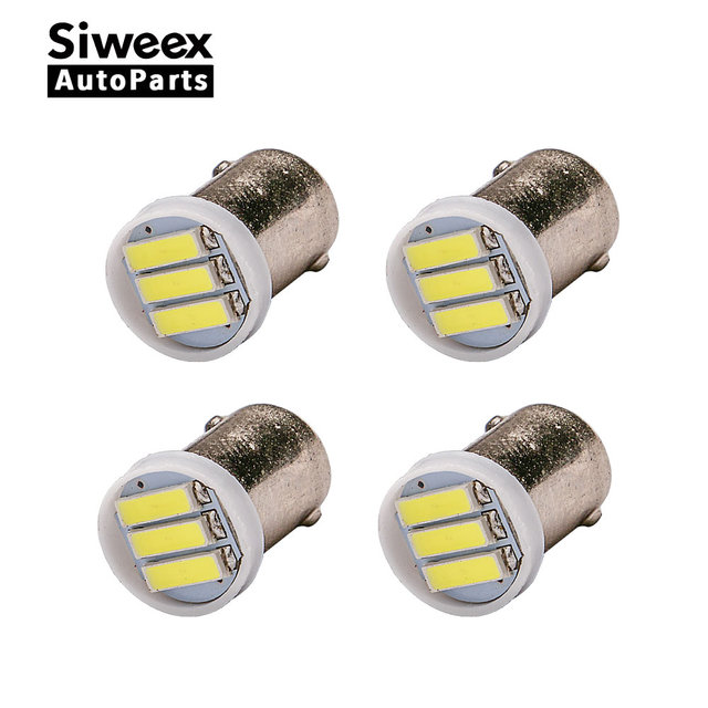 4x BA9S T4W 2W 3led 7020 SMD LED White Light 6500K Car Auto Backup Reserve bulbs lamps DC 12V