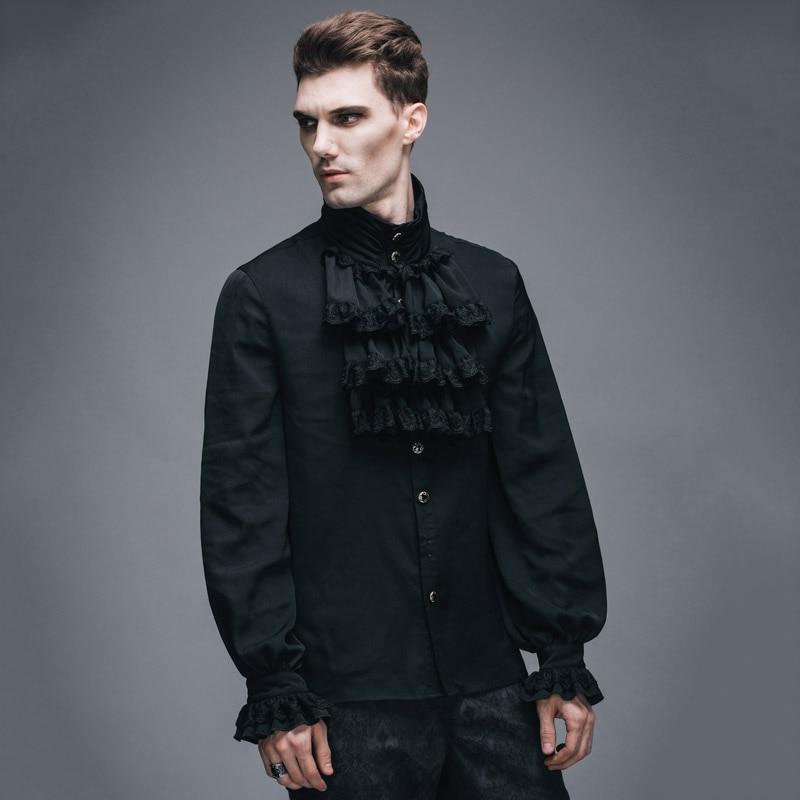 Devil Fashion Victorian Men\'s Gothic Flounce Tie Shirt Punk Black ...