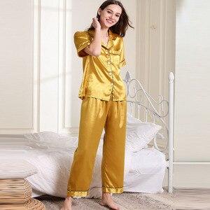 Image 5 - Fiklyc ropa interior de manga corta para mujer, juego de pijama de satén, pantalones largos, hermoso uso en interiores