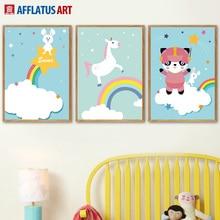 Cartoon Rabbit Unicorn Panda Rainbow Wall Art Canvas Painting Nordic Posters And Prints Pictures Kids Room Decor