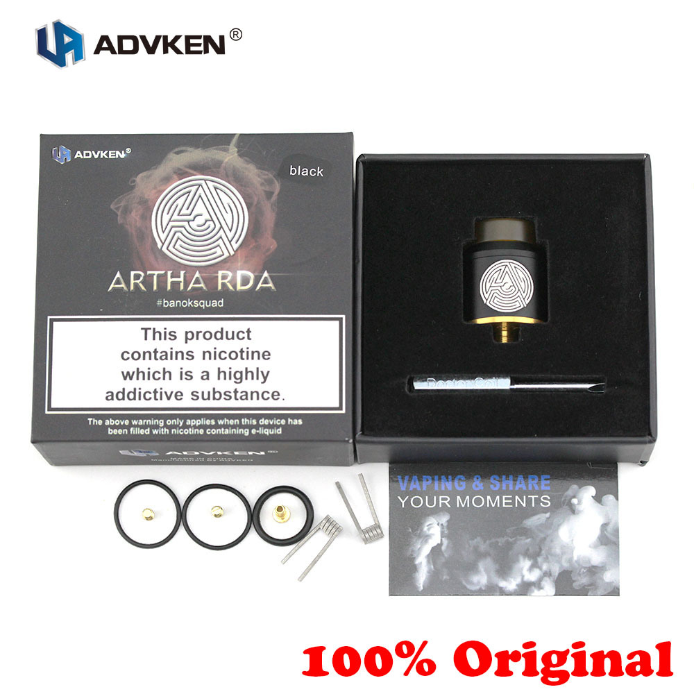 100% Original E-zigarette Advken Artha RDA 24mm Tank 510 Holt Tropft Zerstäuber 810 Tropfspitze Für Boden feed Box Mod