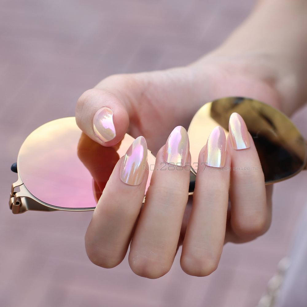 Nude Color Full Cover Stiletto Nails Tips Metal Pink False Nail Salon Mirror 24pcs Mountain Peak Laser End Product Fake In From Beauty
