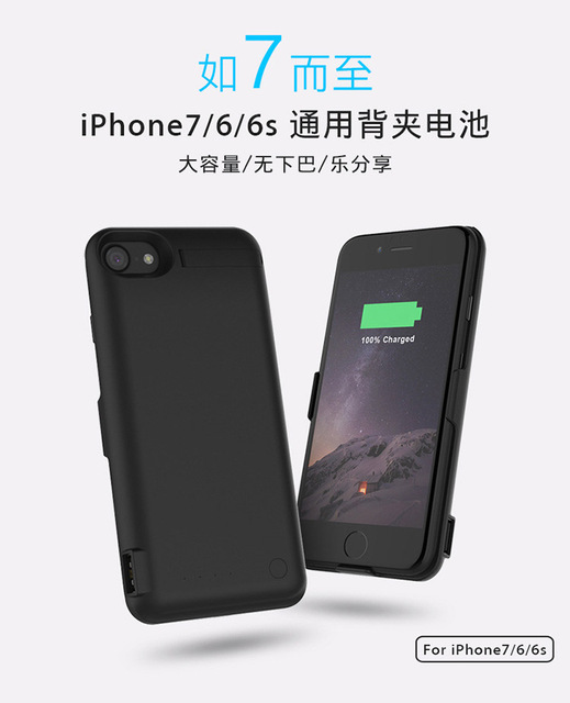 500pcs 10000mah Backup Battery Charger Case for IPhone 7 Rechargeable External Power Cover Power Bank with Package Wholesale