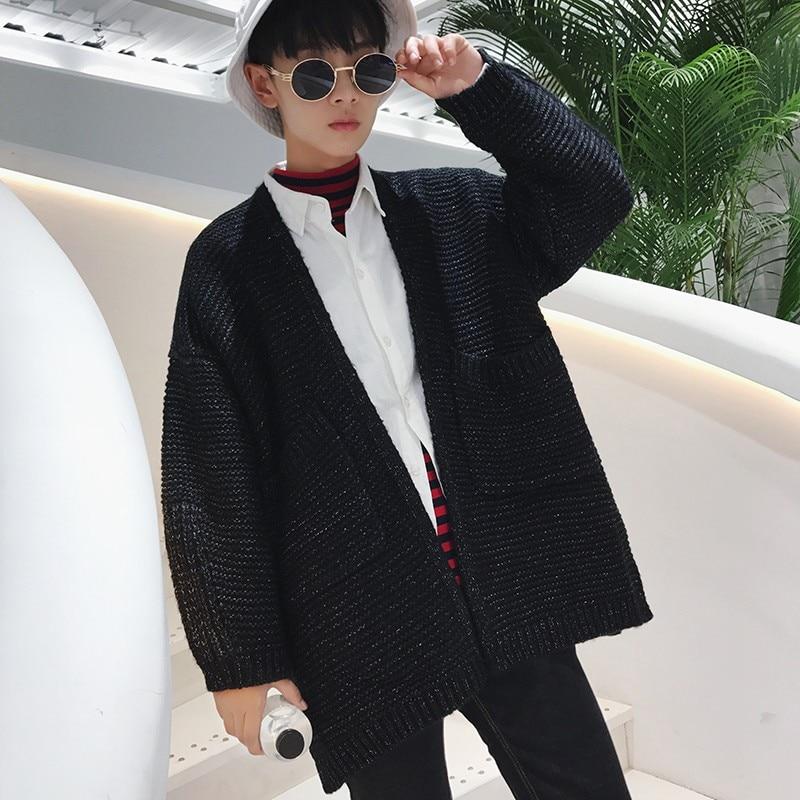 Mode surdimensionné hommes tricoté chandail Preppy garçon vêtements d'extérieur manteau lâche Fit personnalité décontracté mâle Cardigan Jaqueta Masculino-in Col en V from Vêtements homme    3