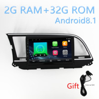 1din car Android8.1 multimedia player 2.5D stereo radio For Hyundai Elantra Avante 2016 2017 2018 with gps navigation BT Music