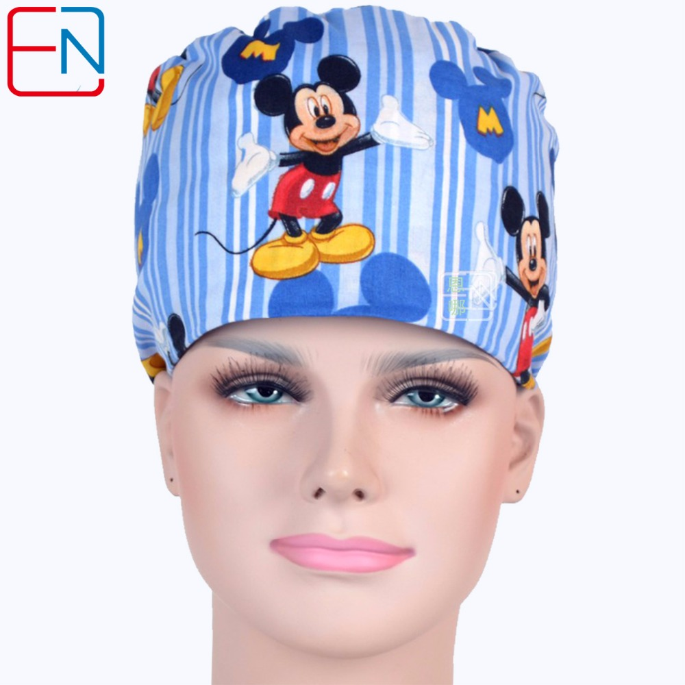 Hennar New Cotton Scrub Caps Masks For Women Hospital Clinic Medical Hats Cotton Blue Print Adjustable Surgical Caps Masks