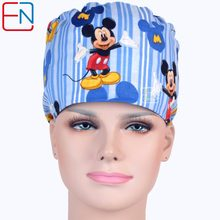 Hennar New Cotton Scrub Caps Masks For Women Hospital Clinic Medical Hats Cotton Blue Print Adjustable Surgical Caps Masks(China)