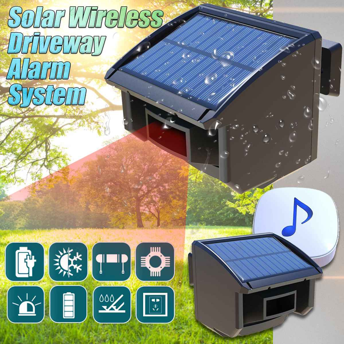 Solar Powered Wireless Motion Sensor Detector Solar Driveway Alarm System Waterproof Outdoor Motion Sensor Detector