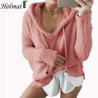 HOLMAI Women Soft Mohair Fluffy Hoodies Casual V Neck Long Sleeve Fleece Sweatshirts Loose Beige Black