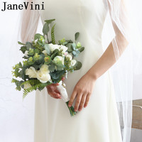 JaneVini Vintage White Rose Bride Flowers Artificial Green Leaves Wedding Bouquet Brooches Bridal Handle Bridemaid Bouquet 2019