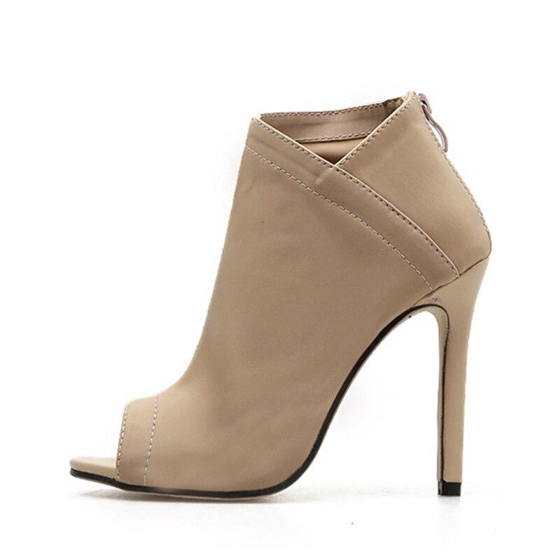 Abierto Resbalón Zapatos La Mujeres Alto Europa Botas En Verano Toe Pie Beige De Las Del Sandalias Sexy Bombas Peep Dedo Tacón black Moda Tobillo Marca wvqxZxFBA