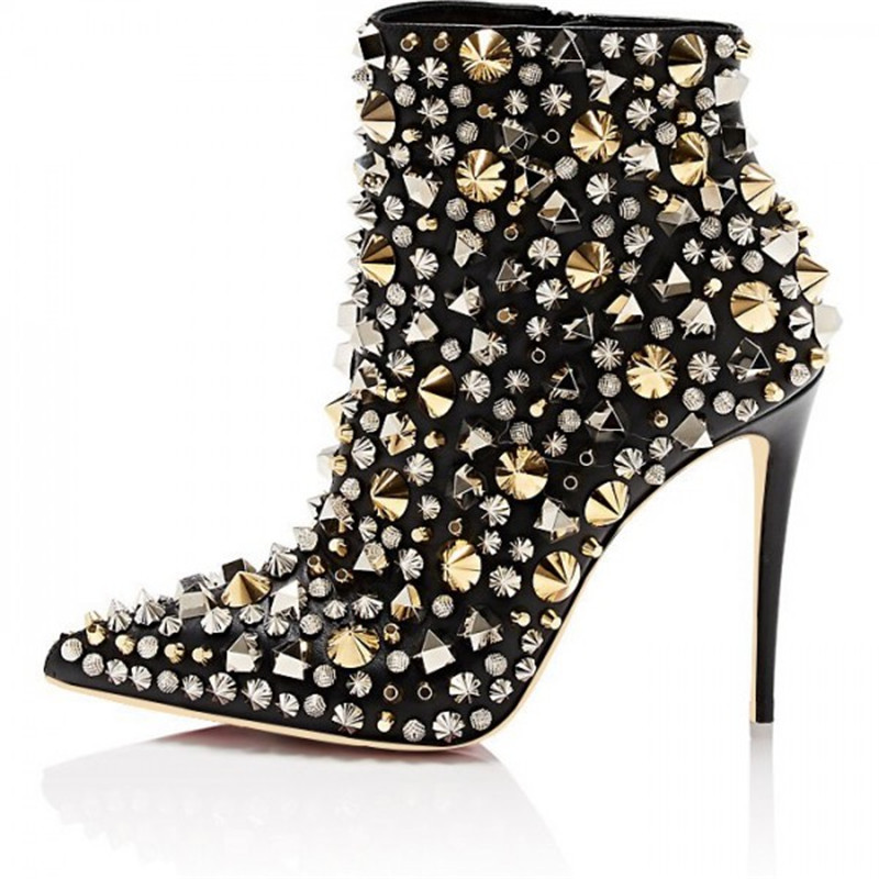 Luxury Brand Black Rivets Studs Zip Stilettos Boots Design Pointed Toe Ankle Boots For Women Party Formal Dress Shoes WomenLuxury Brand Black Rivets Studs Zip Stilettos Boots Design Pointed Toe Ankle Boots For Women Party Formal Dress Shoes Women