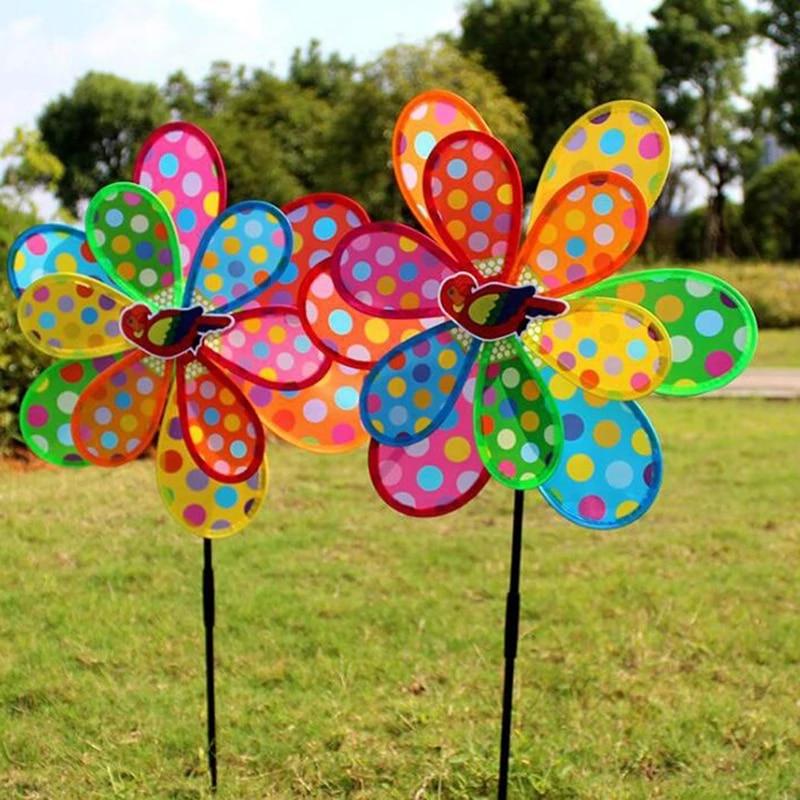 Colorful Metal Wind Spinner Double Pinwheel Outdoor Yard Garden Windmill