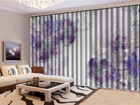Custom 3D Floral Curtain Purple Jewelry Flower White Butterfly Living Room Bedroom Beautiful Practical Shade Curtains