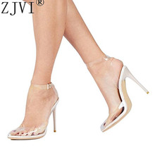 Купить с кэшбэком ZJVI woman sexy pointed toe sandals ladies 12cm thin high heels shoes for women summer cow leather sandal ankle strap sandalias
