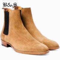 Черные и уличные мужские замшевые ботинки «Челси» ручной работы из натуральной кожи с высоким берцем в английском стиле Wyatt, повседневные р