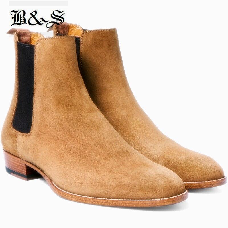 Preto & rua artesanal de couro genuíno fino ajuste camurça chelsea botas masculinas cunha euro alto topo inglaterra wyatt causal luxo botas