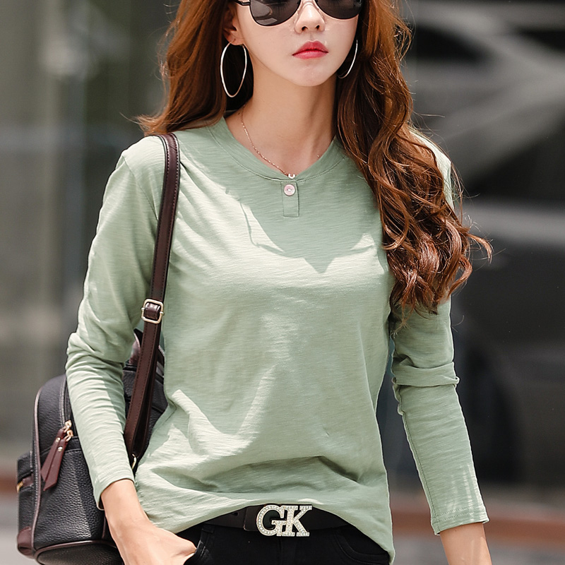 2019 Women Autumn And Winter Casual T-Shirt Fashion One Black Color 0 Neck T shirt Cotton Long Sleeve Tops Green Black White