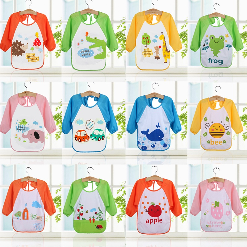 New Cartoon Waterproof Bibs Toddler Boys Girls Long Sleeve Bib Apron Smock Bib Burp Cloths Children Feeding Food Keel