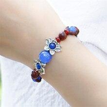 Mulheres pulseira 2016 nova azul vermelho tibetano prata flores corda cadeia de moda moda retro acessórios jóias menina presente BS13