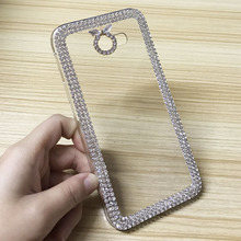 Luxury Rhinestone Case For Samsung Galaxy A7 2017 A720F A720 Diamond Bling Clear Hard Plastic Phone Back Cases Cover Coque