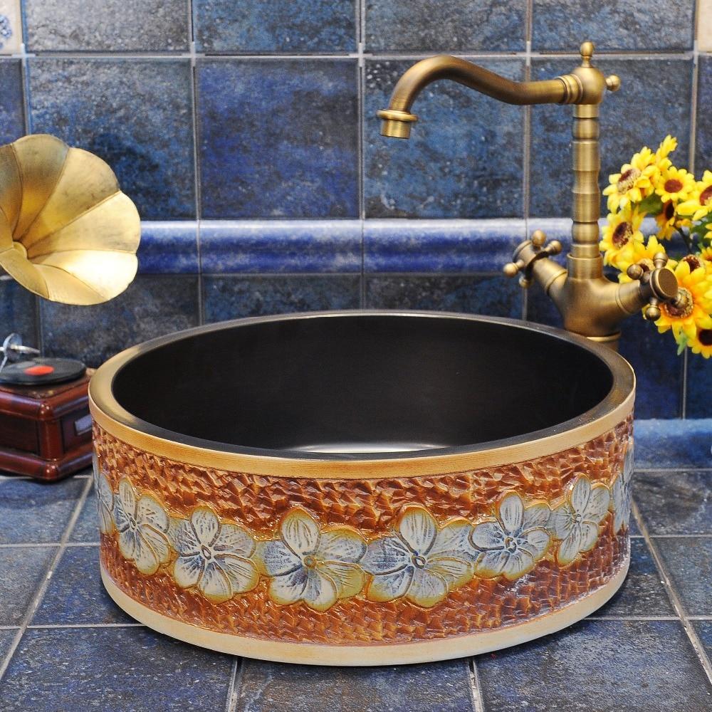 Antique high quality wasit drum shape ceramic wash basin bathroom decoration sink недорго, оригинальная цена