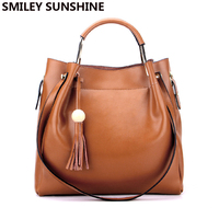 SMILEY SUNSHINE high quality women genuine leather bucket bag female big shoulder bag brown purse and handbags top handle bags