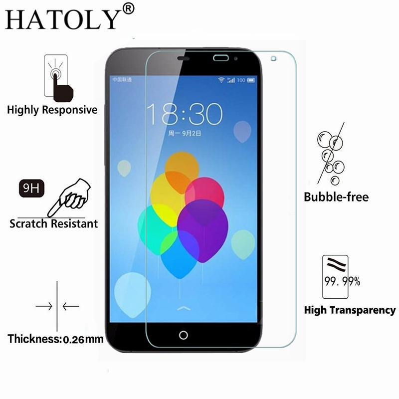 2PCS Tempered Glass For MEIZU MX3 Ultra-thin Screen Protector For Meizu MX3 Glass MX 3 Meizumx3 Toughened Protective Film HATOLY