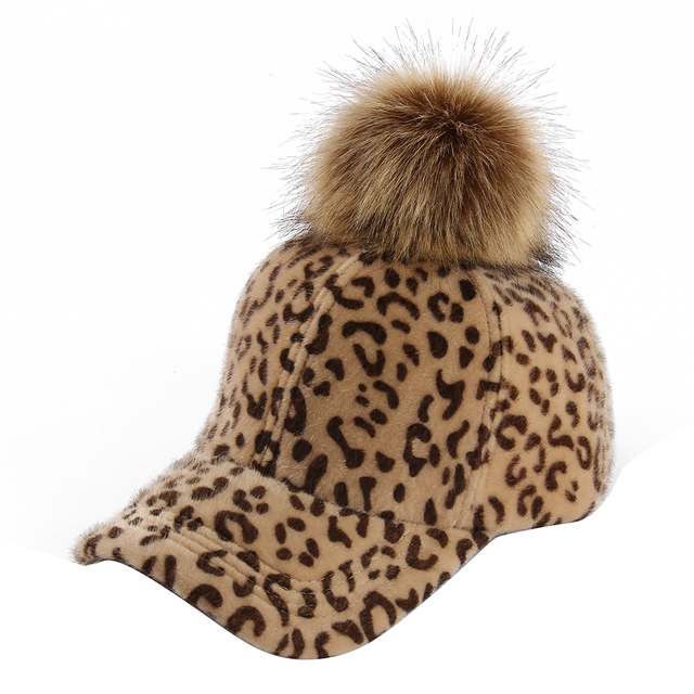4adf8d2366c FOXMOTHER 2018 New Fashion Winter Women Ladies Brown Grey Leopard Faux Fur  Mink Baseball Cap With Fur Pom Poms