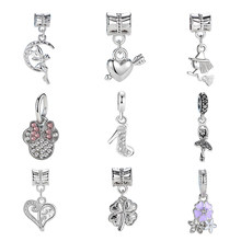 2018 High-Heeled Shoes Pendant Crystal Bead Charm Fit Women Pandora CHARM silver 925 original Bracelet & Bangle DIY Jewelry(China)