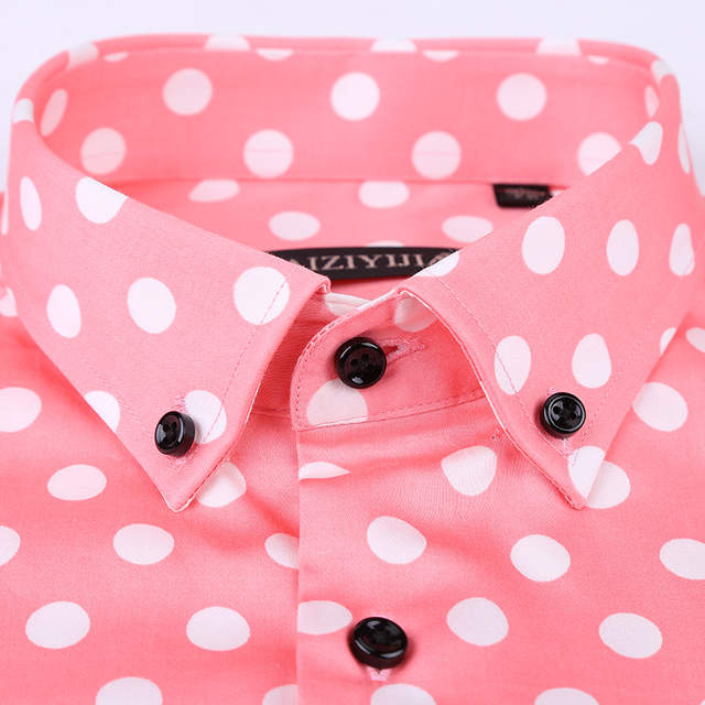 f423464a341 Polka Dot Men Casual Business Dress Shirt Brand Long Sleeve Males Slim Fit  Stylish Social Formal