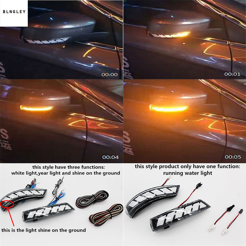Livraison gratuite 2 pcs/lot Dynamique l'eau courante Clignotant Indicateur Rétroviseur Allumer La Lumière pour 2012-2018 Ford Focus 3 MK3