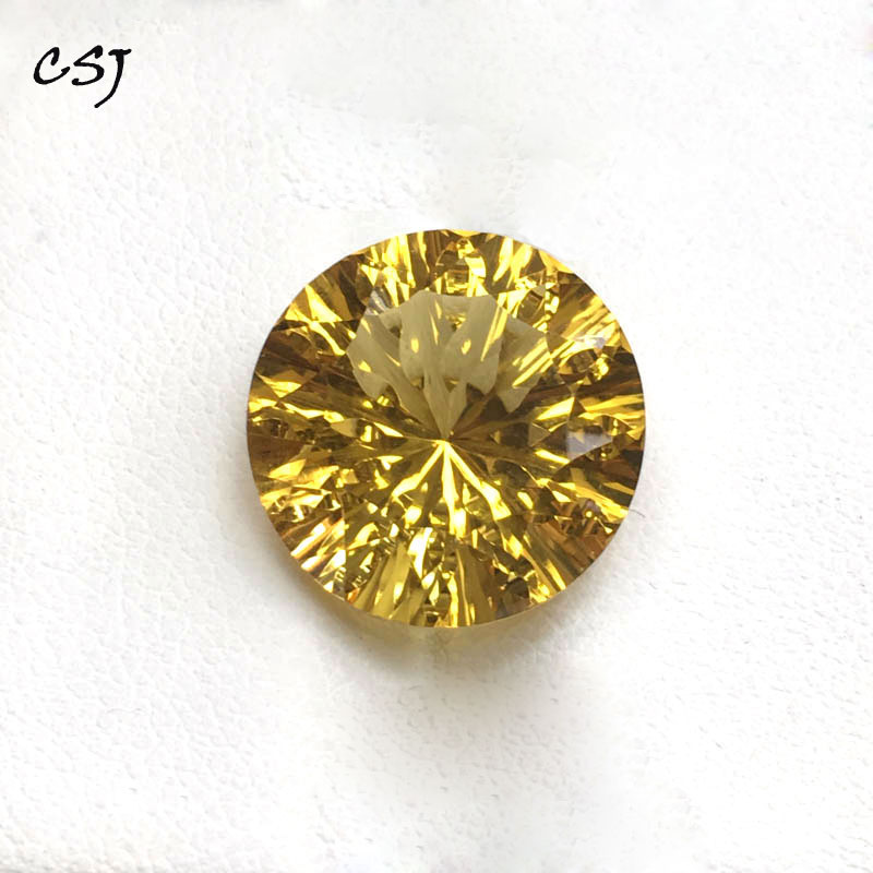 CSJ Real natural citrine loose gemstone Round15.5mm 11.6ct concave brilliant honeycomb cut for 925 silver gold fine jewelry