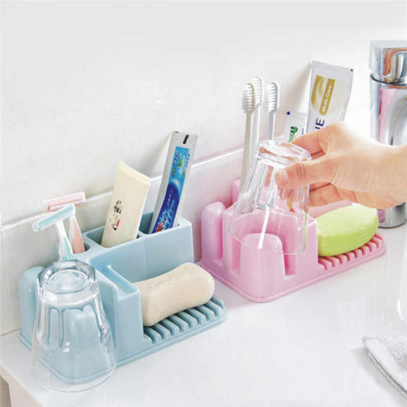 Bathroom Washable Storage Rack Bathroom Toothbrush Holder Cup Finishing Holder Save Space Organizer Stand Shelf For Bathroom