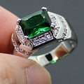 Men's Silver Oblong Green Lab Created Emerald with CZ Side Stone Ring Size 9, 10, 11