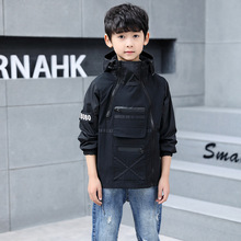 Boys jacket spring and autumn new long-sleeved double zipper jacket children's cotton hooded children's clothing недорого