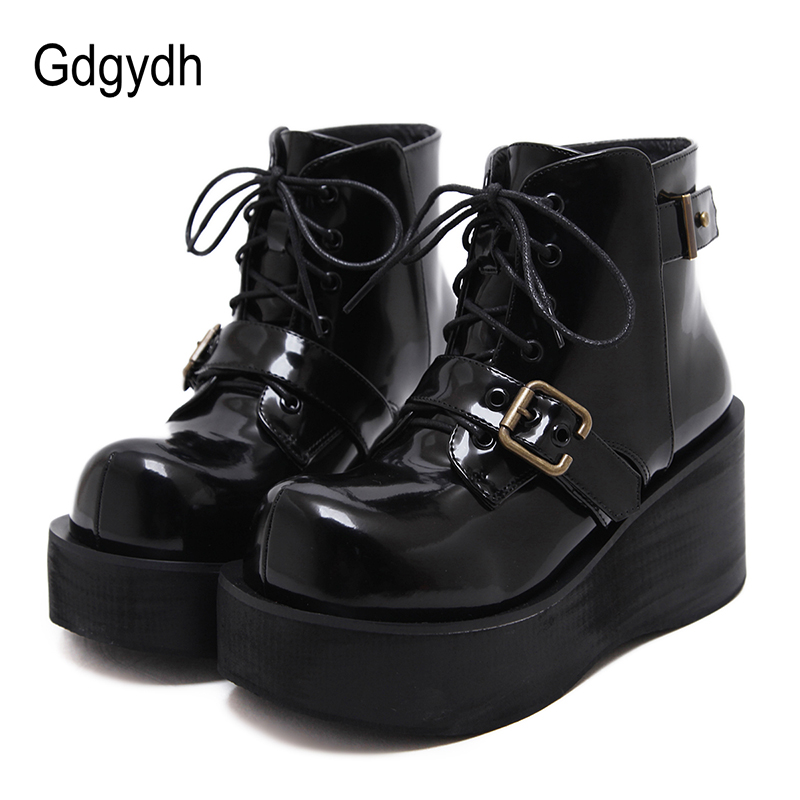 Gdgydh Black Spring Autumn Wedges Heel Boots Women Shoes Platform Lace-up Casual Shoes For School Patent Leather Good Quality