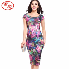 BAITAI Women Pencil Dress Female Short Sleeve Square Collar Feather Print Slim Bodycon Dresses Clothing