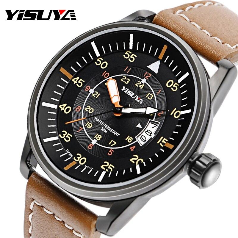 YISUYA Mens Watch Leather Band Calender Quartz Male 3ATM Water Resistant Date Military Pilot Japan Quartz Movement Wrist Watch цена и фото