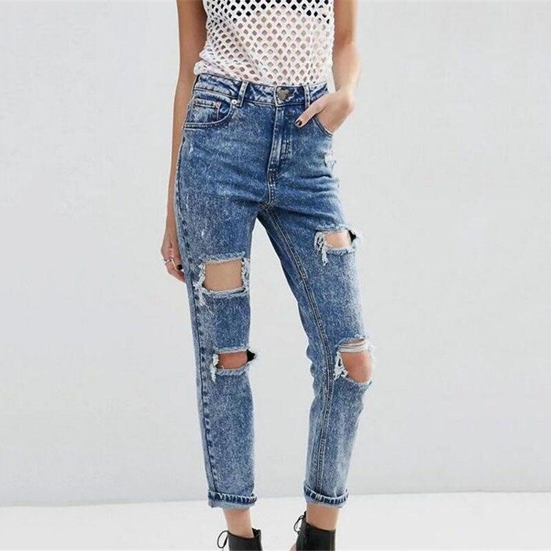 ФОТО 2017 Ripped Hole Fringe Snow Blue Women Jeans Denim Skinny Pencil Pants Casual Slim Fashion High Waist Street Trousers L307