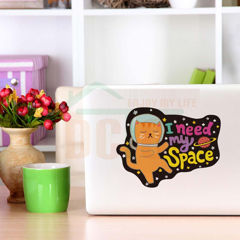 Sleeping Cartoon Cat I Need My Space Color Wall Sticker For Kids Bedroom Decoration Funny DIY Art Decals Laptop Car Decor