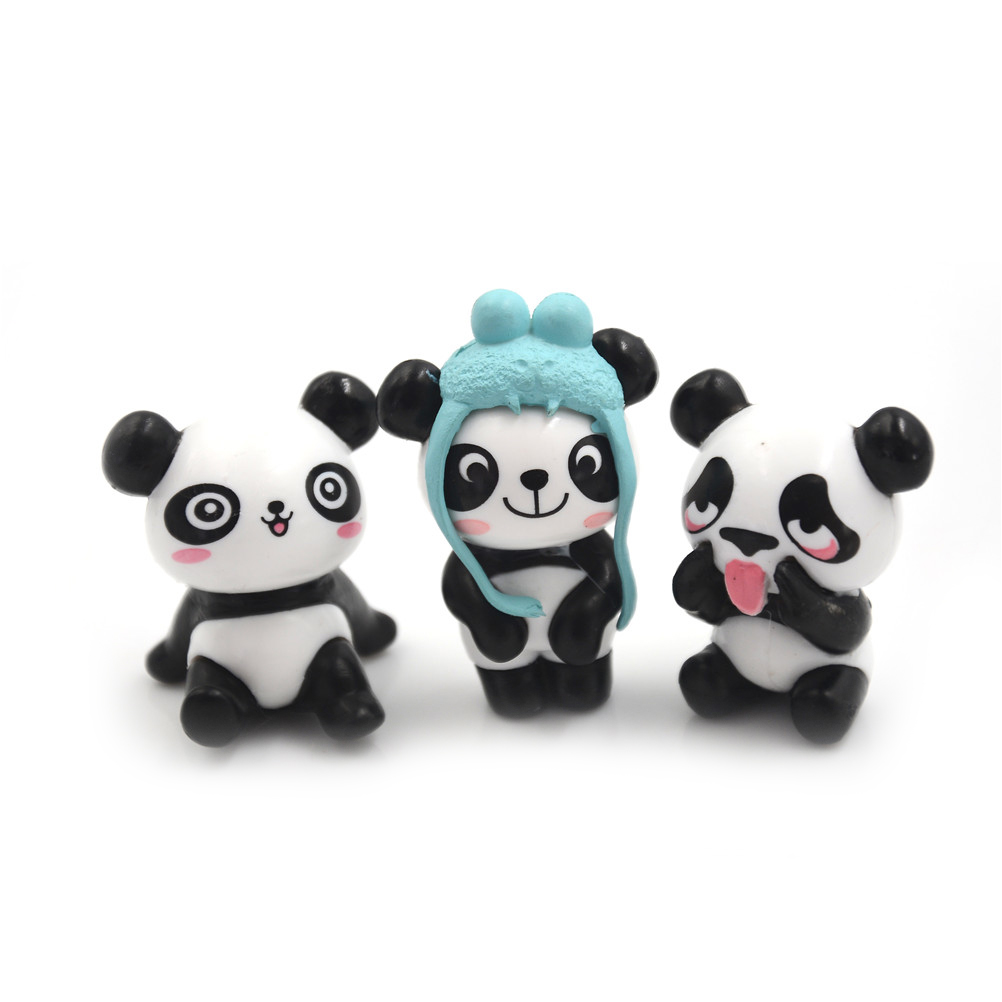 Panda-Action Figures Mini Birthday-Gift Kids PVC Peripherals Preschool-Toy-Set Children