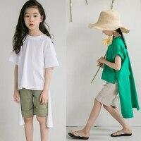 Pamuk t shirt çocuk düzensiz genç t-shirt kızlar çocuklar yaz uzun küçük kız 2018 bahar beyaz yeşil çocuk giyim tops