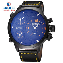 SKONE 2017 Men Big Round Face 3 Time Zone Analog Quartz PU Leather Watches Men Fashion Casual Sports Army Military Wrist Watch