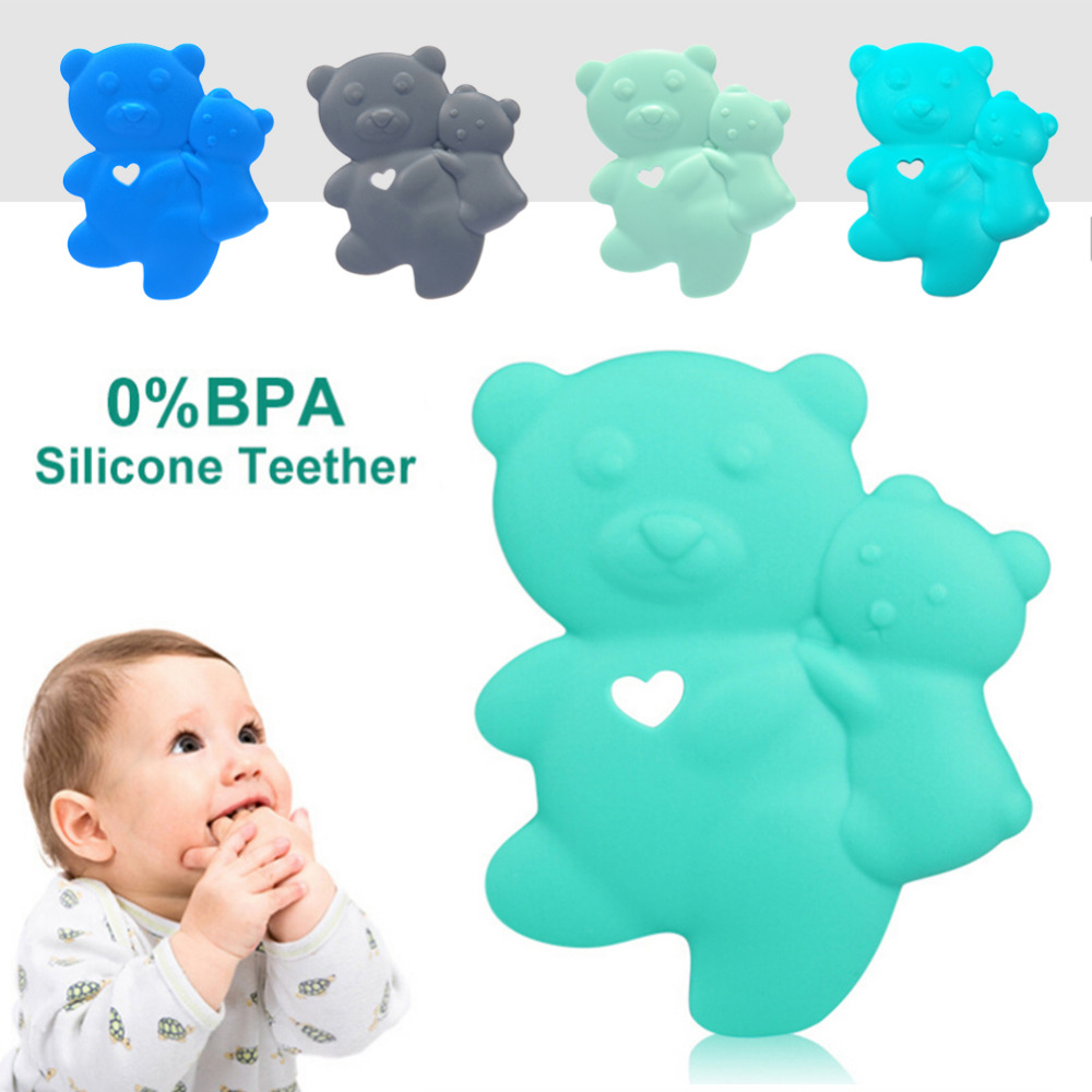 Newborn Baby Food Grade Silicone Teether Cute Bear Shape Infant Teethers Comfort Bite Toddler Teething Gum Toys For Dental Care