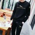 2016 Hombres Sportwear Chándal Sportsuit Set Otoño Del O-cuello Ocasional de Los Hombres Con Capucha Chaquetas Hombres Sweat Pant + Camiseta Impresa Conjunto Z05