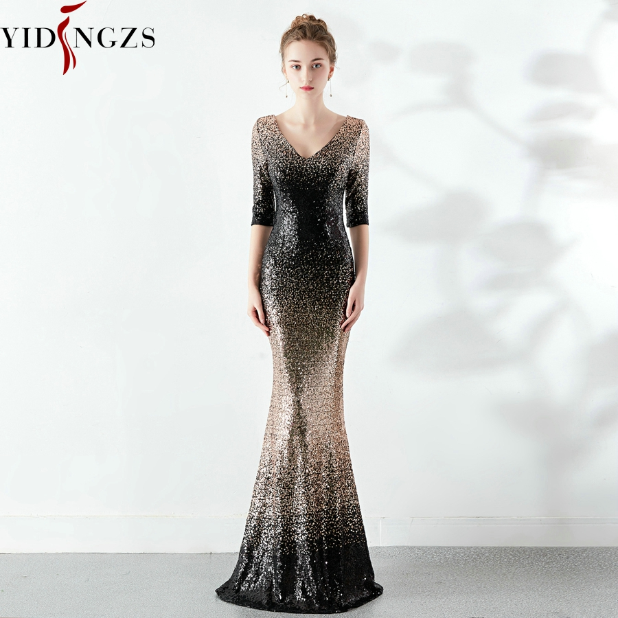 Robe De Soiree Elegant Mermaid Sequins   Dress   Half Sleeve   Evening     Dress   Party Long   Dress
