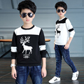2017 spring and autumn fashion classic children's sweater boys 4-13 years old cartoon deer color stitching bottoming shirt